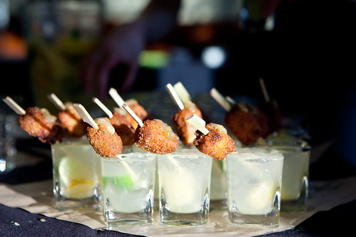 Pork face nuggets & limequat capirinhas