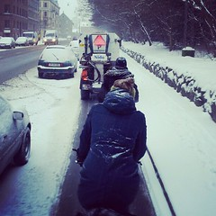 Tailing the bike lane snow sweeper. #vikingbiking #copenhagen #cyclechic