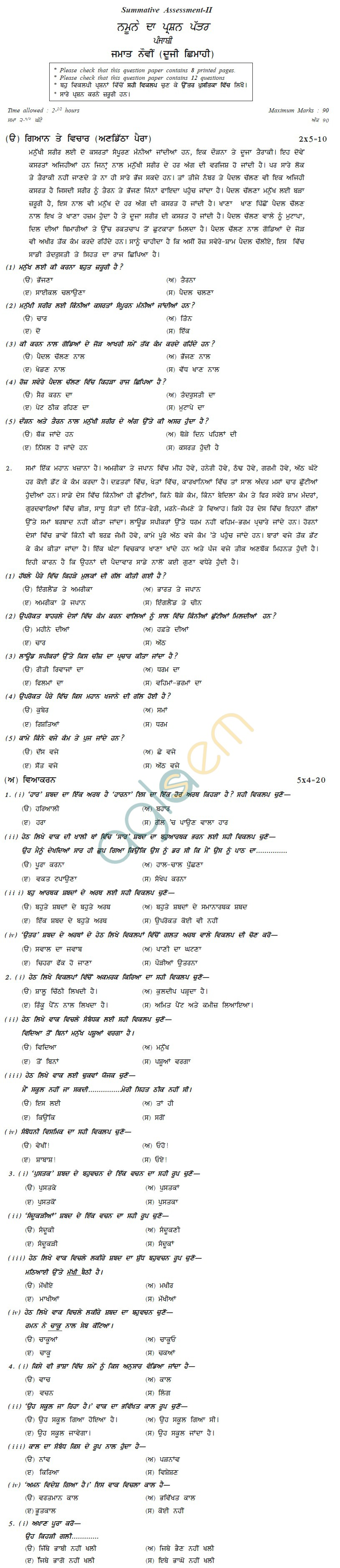 CBSE Board Exam Sample Papers (SA2): Class IX - Punjabi