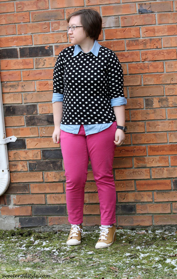 polka dots, chambray, pink pants