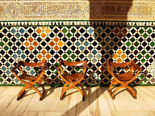 Seats in Court of the Myrtles, the Alhambra