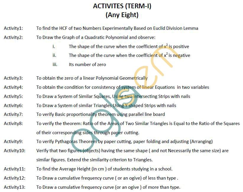 CBSE Class X: Maths - Activities - Term I