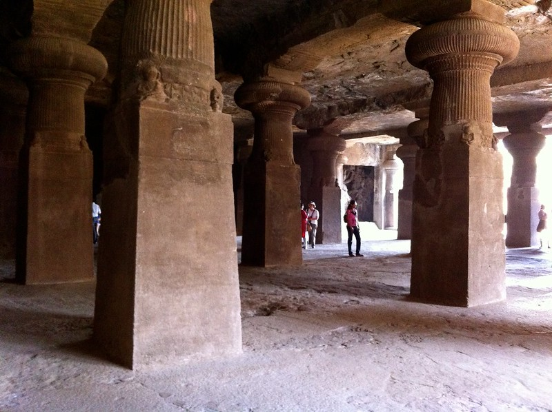 The pillars in the main cave at Elephanta