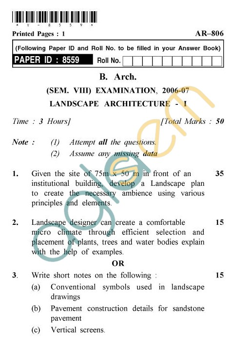UPTU: B.Arch Question Papers