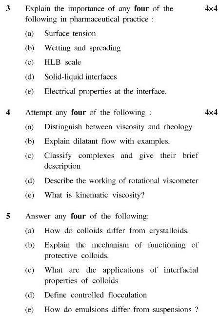 UPTU B.Pharm Question Papers PH-244 - Pharmaceutics-V (Physical Pharmacy)