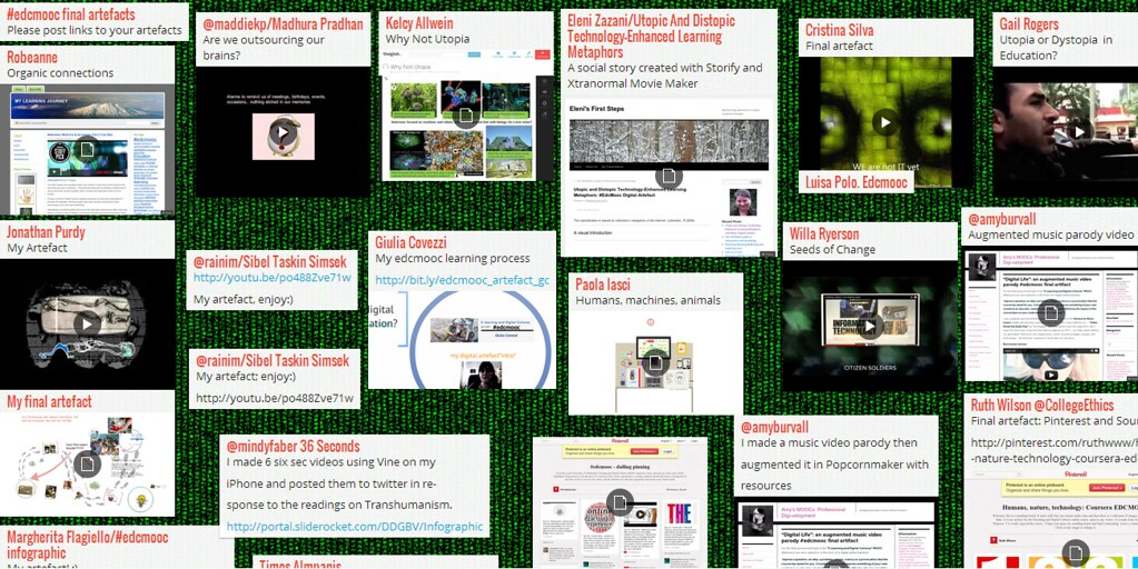 The wall of #EdcMooc Art -e-Facts