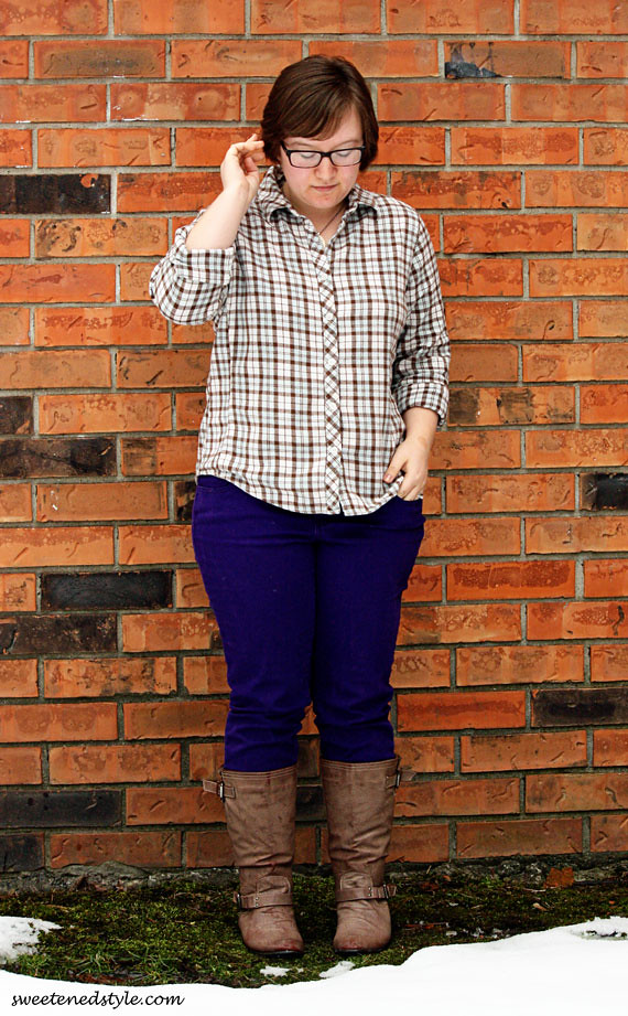 plaid shirt, purple jeans, brown boots