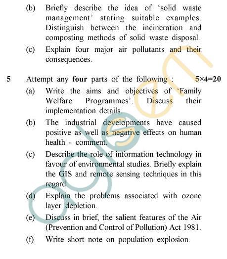 UPTU B.Tech Question Papers -TES-201 - Environmental Studies
