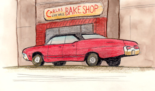 The Impala in front of Carlo's Bake Shop