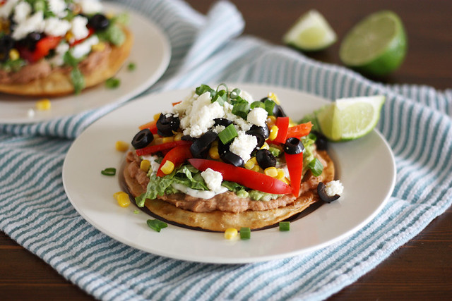 nine-layer veggie tostadas