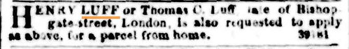 Package for Henry Luff or Thomas C. Luff The Argus 29 Sep 1853