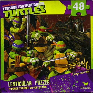 CARDINAL :: Nickelodeon TEENAGE MUTANT NINJA TURTLES - 48 Piece Lenticular Puzzle ..box ii (( 2012 ))