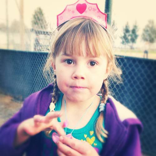 Oh this girl. Beautiful brown sugar eyes, lip gloss all over, a princess crown and dirt everywhere. I love her. <3