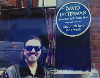 David Letterman blue plaque - David Letterman American talk show host (born April 12th, 1947) got drunk here for a week