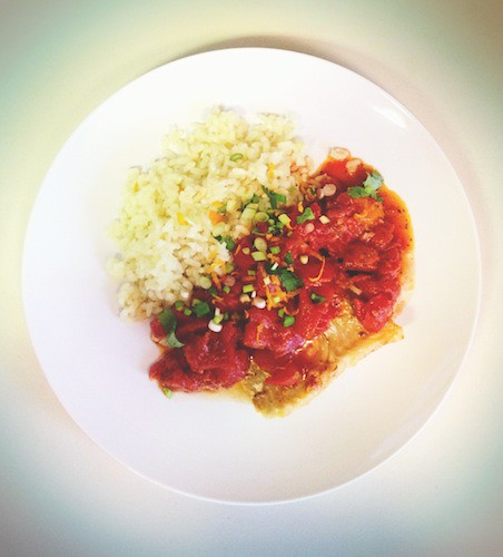 Cod with Smoky Tomato Sauce and Orange/Clove-Infused Arborio Rice