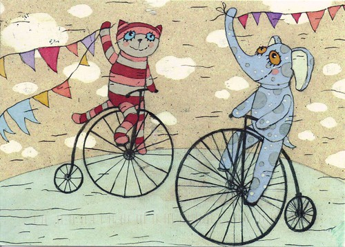 Cat & Elephant on Unicycle