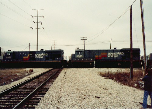 Former Seaboard System locomotives running light pass though Hayford Junction.  Chicago Illinois.  March 1990. by Eddie from Chicago