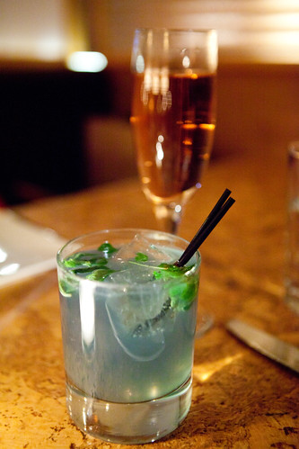 The Narcissist: gin, lime, ginger beer, creme de violette, shiso leaf