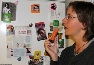 20120925 Me (composed) eating normal carrot whilst contemplating fridge media.