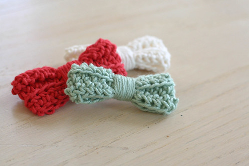 Crocheted hair bows.