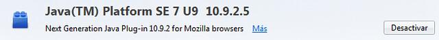 Java activo en Mozilla Firefox