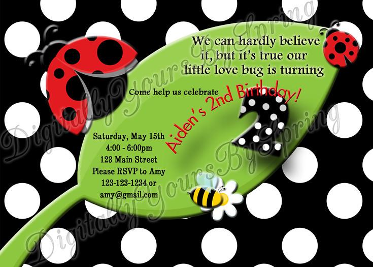 DigitallyYoursBySpring Printable Kids Lady Bug Birthday Invitation