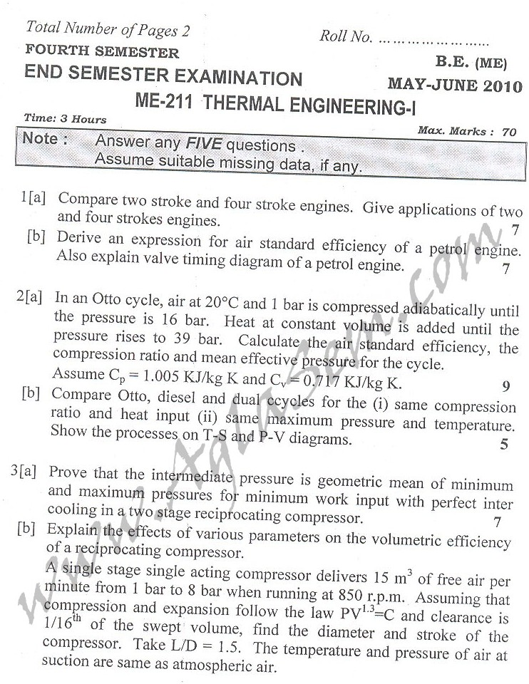 DTU Question Papers 2010 – 4 Semester - End Sem - ME-211
