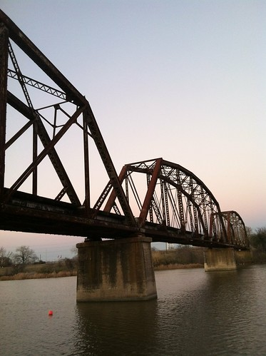 railroad bridge sunset river day clear brazos