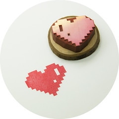 8-Bit Heart, Hand Carved Rubber Stamp