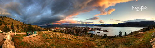 lighting city sunset vanessa sky urban mountain lake canada grass clouds bench landscape cityscape bc desert britishcolumbia sony kade dramatic panoramic cz kelowna arid hdr a850 2470m vanessakade
