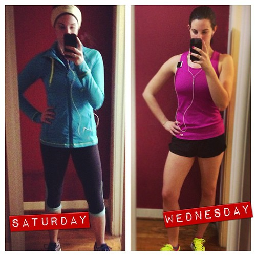 Just a few days apart, but drastically different running gear needed