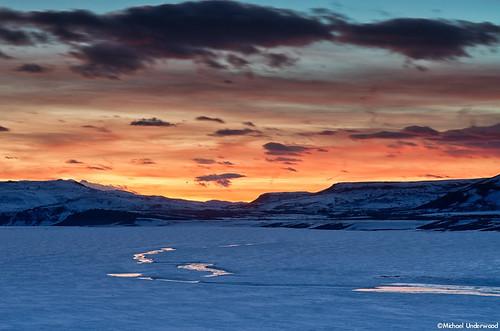 sunset lake ice landscape frozen colorado reservoir gunnison bluemesa curecantirecreationarea gunnisoncounty