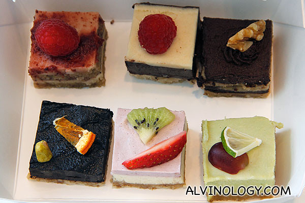 Assorted no-bake cakes. Taste pretty good. S$2.90 a piece.