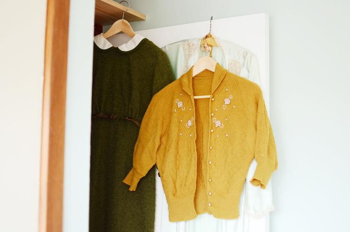 vintage mustard cardigan a