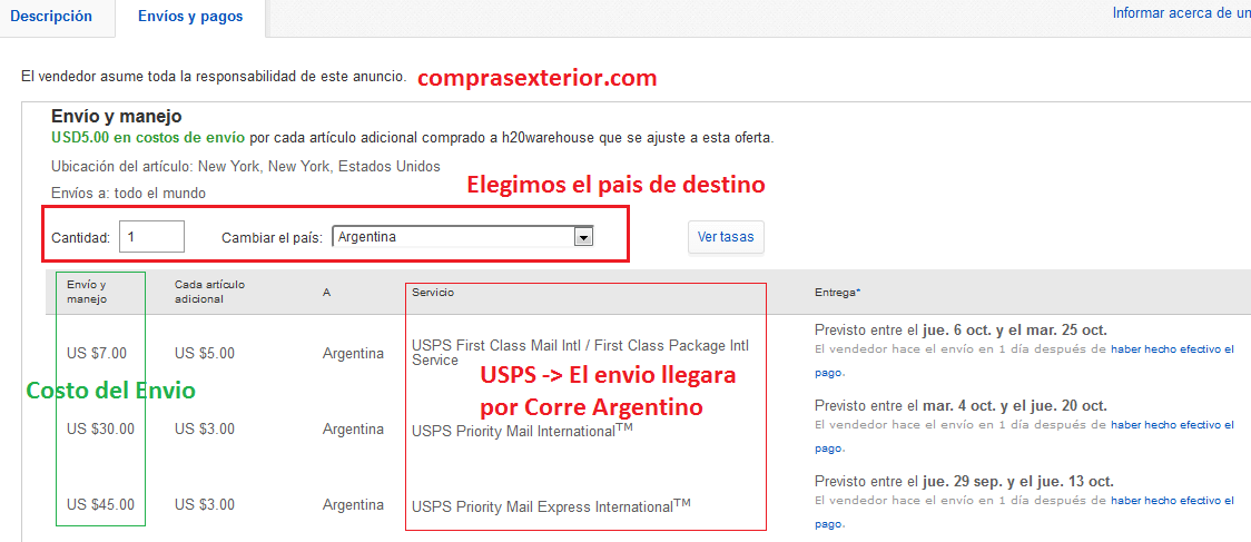 envio de ebay puerta a puerta a la argentina