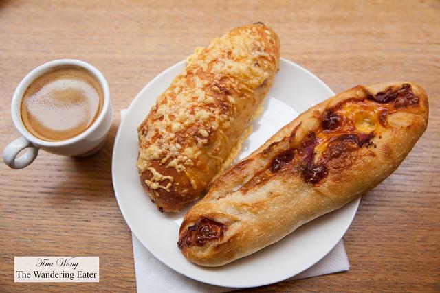 Gruyere loaf and cheddar, lardon, mustard loaf