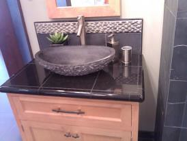 Granite countertop and river rock