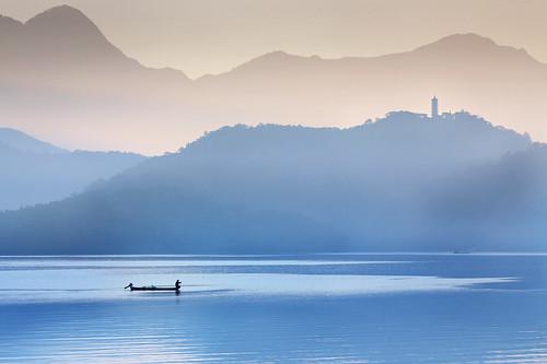 Pagoda and Fisherman at Sun Moon Lake, Taiwan 日月潭