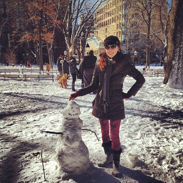 Snowman in Washington Square Park NYC