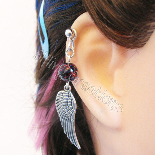 Silver Wing Cartilage Barbell Earring