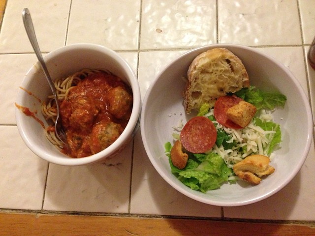 Spaghetti and Meatballs and Caesar Salad