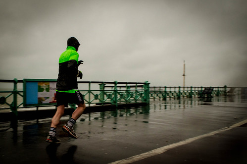 runner in the rain