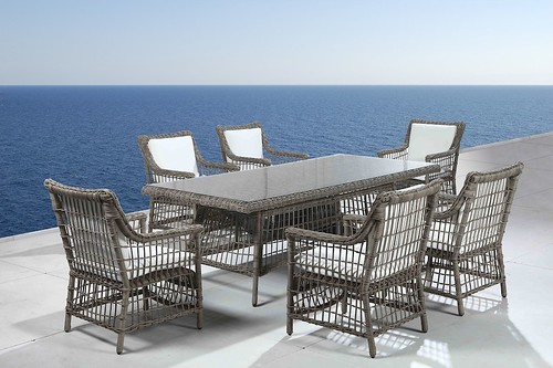 rattan wicker outdoor dining table set for patio and garden
