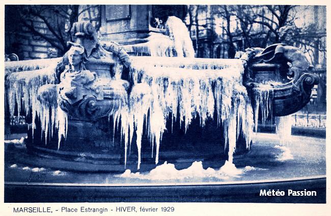 fontaine de l'Estrangin gelée à Marseille, lors de la vague de froid de février 1929 météopassion
