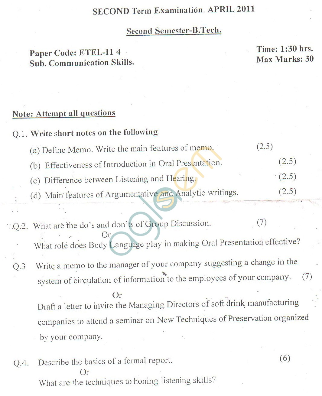 GGSIPU Question Papers Second Semester – Second Term 2011 – ETEL-114