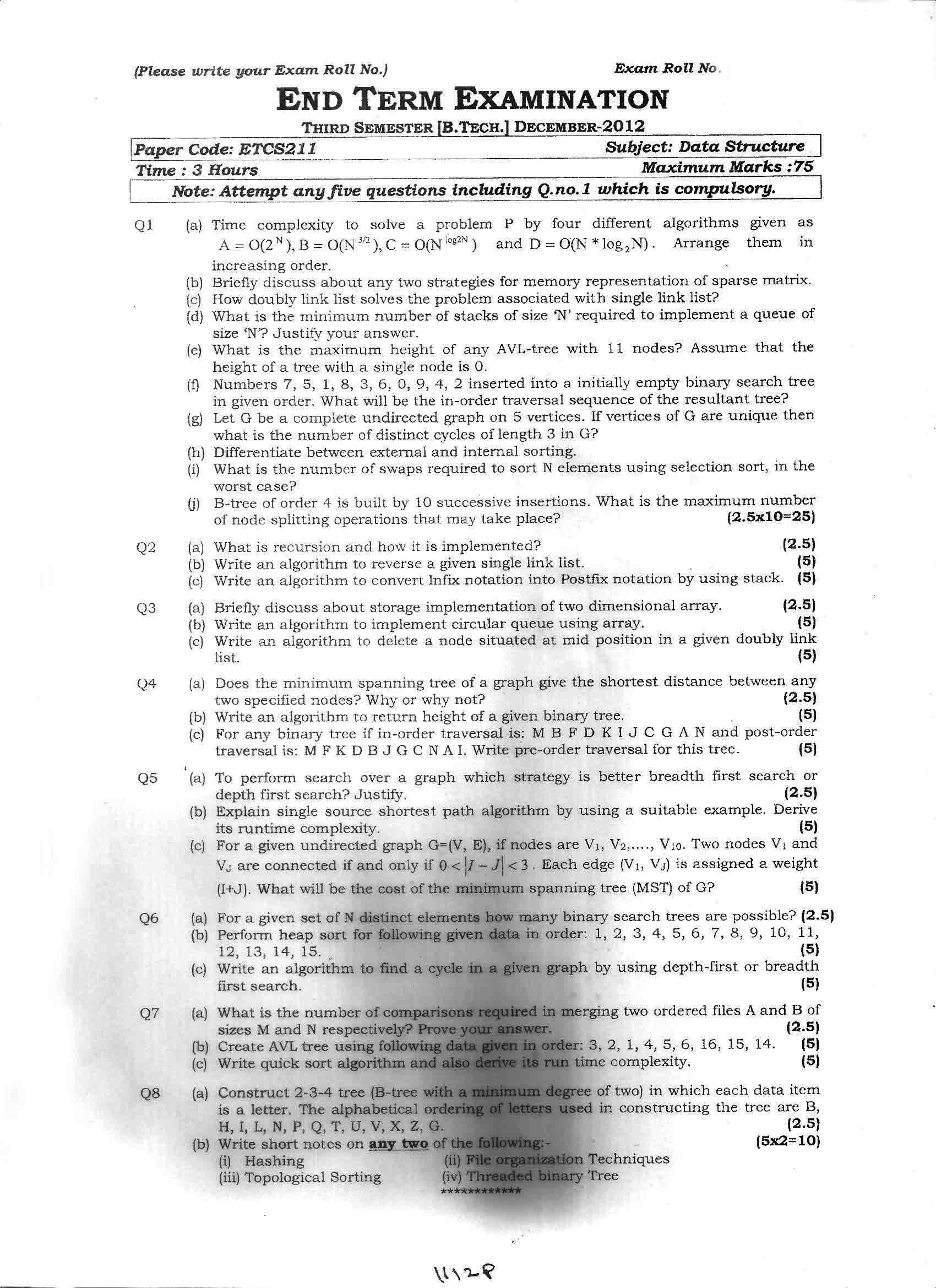 GGSIPU Question Papers Third Semester – End Term 2012 – ETCS-211