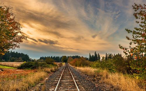 railroad autumn sunset oregon train evening vanishingpoint twilight nikon october cloudy tracks rails helvetia 2012 d800