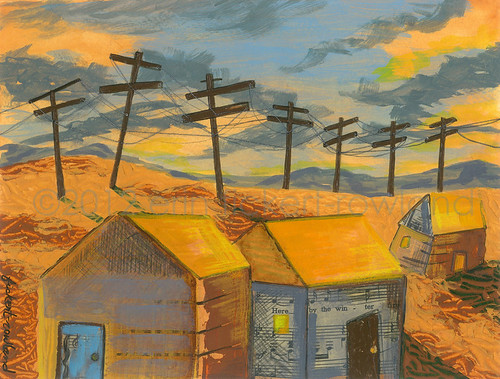 """Connected: Sunset"" Acrylic and Mixed Media on Paper by Erin Fickert-Rowland"