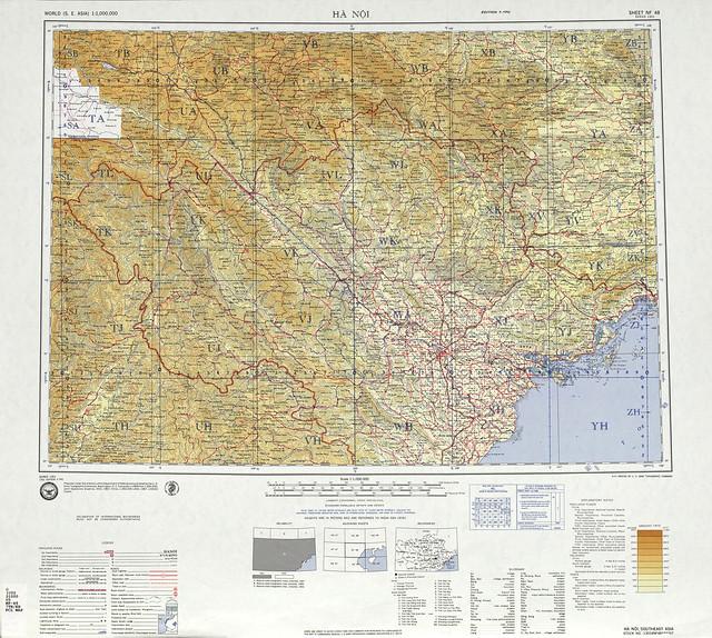 SHEET NF 48 - Bản đồ HANOI và các tỉnh phía bắc VN 1969. Tỷ lệ 1/1.000.000