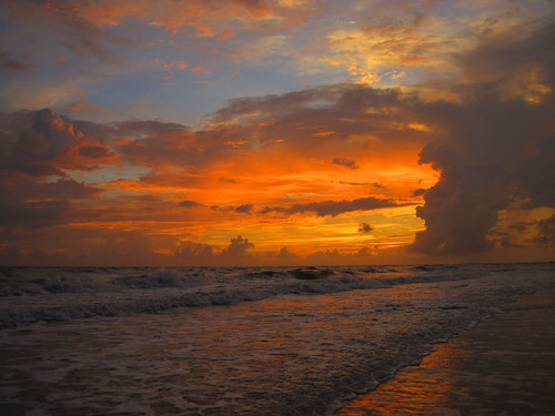 ocean sunset clouds evening sand surf day florida cloudy sanibel